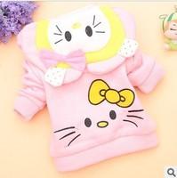 Autumn hello kitty hoodies 2014 new 100% cotton outerwear children's clothing flower girl's jackets warm coat