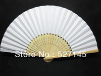 Free Shipping 10Pcs/Lot Plain White Paper Hand Fans for Wedding 21cm