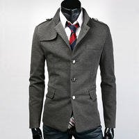 Men's Suit blazer Fashion items Stand collar Single breasted Epaulette elegant Casual Slim fit Free shipping