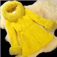 2014 Ladies' Genuine Rex Rabbit Fur Coat Jacket Fox Fur Hoody Winter Women Fur Outerwear Coats VK0974