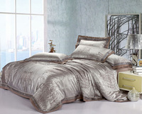 Queen Luxury bedding tencel satin jacquard piece bedding set flowerier