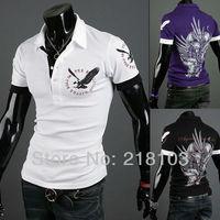 New Fashion Shirt Mens short-sleeved shirt printing British Eagle 5 color size:M-XXL