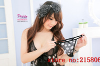 Chiffon Sexy Neck-Strapped See-through Lace Sleepdress plus Hot Trong G-string Underwear for Ladies black 6965