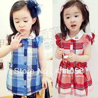 2013 summer sweet cherry girls clothing baby child plaid skirt clothing qz-0350