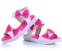 2013 fashion  bowknot rubber sole girl shoes/girl sandals/kids sandal/child sandals