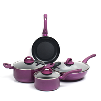 free shipping Purple milk ceramic 7pcs cookware set combination electromagnetic general coating