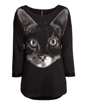 2013 new winter fashion brand cat face Printed Women's casual loose long-sleeved sweater free shipping