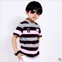 Child 100% cotton short-sleeve T-shirt male child stripe t shirt fashionable casual