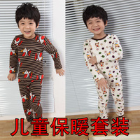 Child winter thermal underwear set child underwear set velvet 100% cotton cartoon child thermal clothing
