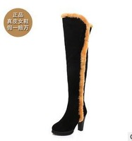 size34-39 2013 fashion women's round toe genuien leather suede thick high-heeled winter warm over-the-knee snow boots  gg304