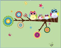 Free Shipping colorful owl  branch DIY Removable Wall Stickers/Wall Decal For home Kids nursery Room Decoration sticker