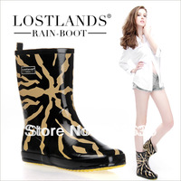 Free shopping 2014 quality comfortable rubber women's rainboots women's rain boots water shoes rain shoes fashion leopard print