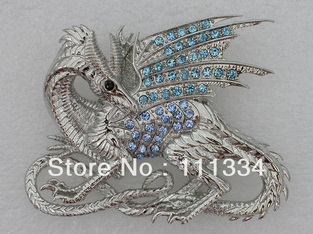Wholesale 12 pieces jewelry gift Aquamarine Rhinestone brooch,Crystal Dinosaur Brooch pin,Fashion Costume Brooch C963(China (Mainland))
