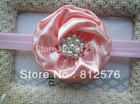 "Flower headbands in handmade baby headbands 3"" shiny satin flower with pearl rhinestone for headbands 25pcs/lot"