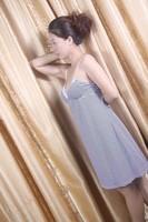 Free shipping Dds010-1 200g print V-neck 100% cotton summer stripe belt sexy nightgown lounge underwear