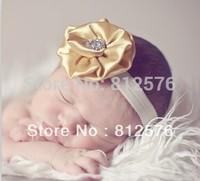"""Baby headbands flower headbands 3"""" shiny satin flower with rhinestone for headbands 25pcs/lot"""