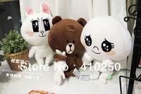 2013 Genuine Fashion Line App Line Pop Brown Bear Rabbit Moon Sang Stuffed animal Plush Toy Doll 35CM 3pcs/set