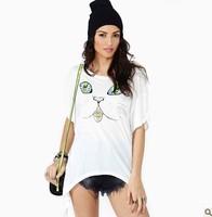 Free ship women's Alien cat face printed fishtail t shirt short sleeve 100%cotton t-shirt lady t shirts