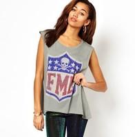 Free ship women's Skull badge printing light gray sleeveless t shirt short sleeve 100%cotton t-shirt lady t shirts
