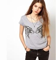 Free ship women's Printed light gray double Steller confrontation t shirt short sleeve 100%cotton t-shirt lady t shirts