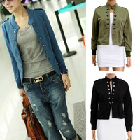 Lady Women Jacket Epaulet Long Sleeve Stand-up Collar Double Breasted Coat