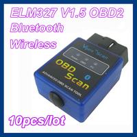 10pcs/lot Mini ELM327 V1.5 Bluetooth Wireless OBD2 OBD II Auto Car Diagnostic Scan Tool