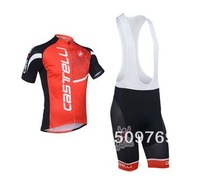 New !2013 castelli Team red color Short Sleeve Cycling Jersey + bib short / cyclling clothing / Free shipping. 970