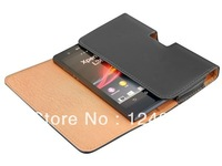 MOQ 1PCS New arrival Real leather filp cover case for SONY Xperia Z ( L36h / L36i ) with Waist hanged holster .Free shipping