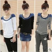 2013 autumn long-sleeve women's basic shirt o-neck patchwork denim slim all-match small t-shirt top