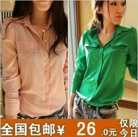 Spring and autumn top stand collar puff sleeve candy color chiffon shirt long-sleeve shirt female shirt