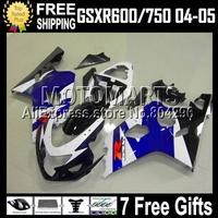 7gifts+CowlFor Blue white black K4 04 05 SUZUKI GSX-R600 GSXR600 GSX-R750 C#107J43 GSXR750 Blue blk  2004 2005 Body Fairings