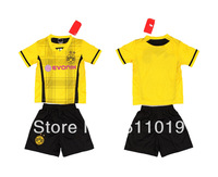 Best Quality Child's Jersey 13-14 Season Borussia Dortmund Home Yellow Kid Kit Soccer Jersey Free Shipping Mix Order