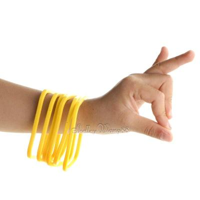 6x Solid Yellow Silicone Rubber Bangle Elastic Belt Wrist Bands Bracelet Square(China (Mainland))