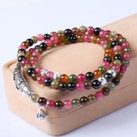 Natural tourmaline bracelet 108 beads bracelet female multi-layer bracelets 925 thai silver fish gift