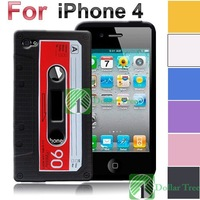 Free shipping: New Cassette Tape Silicone Case Cover for iPhone 4 4G 4S 4GS wholesale
