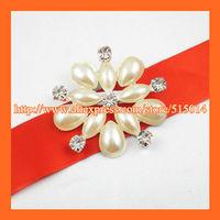 Free Shipping ! 120pcs/lot Flower Pearl&rhinestone Brooches ,Ivory pearl PIN,Wedding Bridal/Invitation Pin