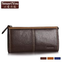 Smartyou women's male wallet male genuine leather cowhide long zipper design men's wallet