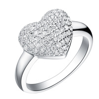 Free Shipping 925 Sterling Silver Ring CZ Zircon Wholesale Romantic AAA+ Crystal Love Heart Size 7 8 9# 3.36g Women Wedding Ring
