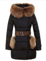 Free Shipping 2013 Winter Fashion Luxury Large Fur Collar Slim Medium-Long Thermal Down Coat Female Outwear Jacket YU71
