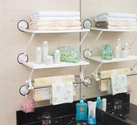 Shuangqing sq1863 double layer double-pole bath kitchen rack strong suction cup shelf 1.7
