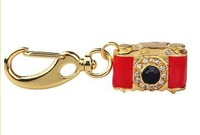 4gb 8gb 16gb 32gb metal 3D red gold camera keyring crystal jewelry shape USB 2.0 flash drive memory pen disk Drop ship