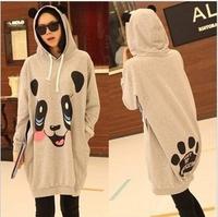 2012Korean version of the new autumn big size maternity hoodies ,pregnant women panda pattern coat,maternity tops