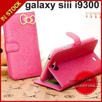 Hello Kitty Horizontal Flip Leather Case Cover with Credit Card Slot & Holder for Samsung Galaxy SIII / i9300  For Note 2 N7100