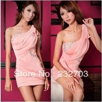 Free Shipping Diamond dress package hip skirt dress strapless one shoulder dress Evening party ktv nightclub nightclub Evening