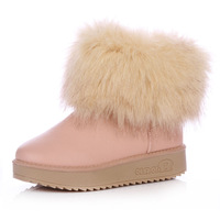 2013 hot women's ankle winter cow muscle boots platform outsole snow waterproof  PU slip-resistant tassel boots