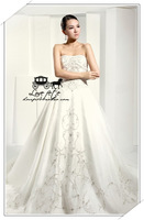 Free Shipping High quality ! interspersion gentlewomen exquisite embroidery bling small fresh train wedding dress