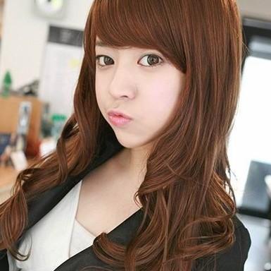 2013 moda Non -mainstream peruca de moda feminina meninas bangs oblíqua peruca fofo kinkiness pintura definir cabelo crespo grande(China (Mainland))