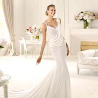Free Shipping 2014 lace chiffon wedding dress spaghetti strap straight slim wedding dress customize