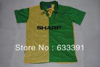 1992-1994 season retro shirts man u yellow/green jerseys  7#CANTONA