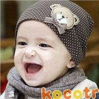 3 PCS / Lot For 1-3 Years Wholesale Baby Boys& Girls hat/Infant Hat/Toddler Infant cap/Bear elastic Cap 21 Colors